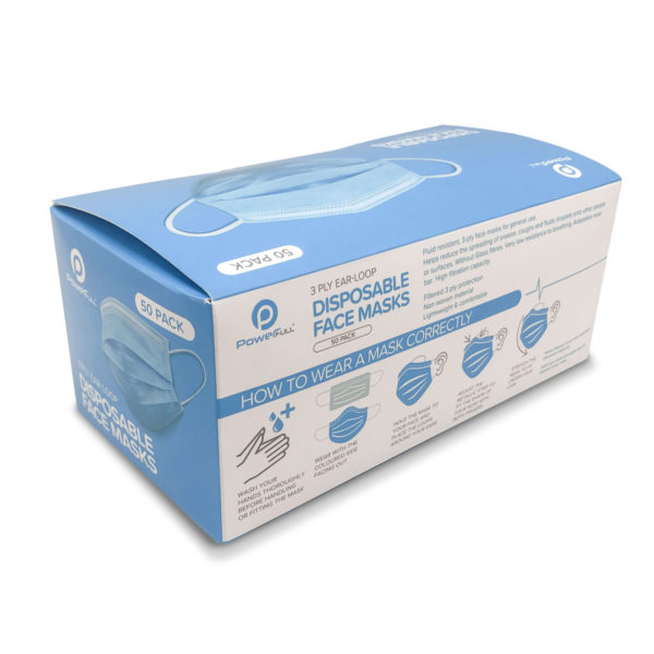Wholesale 3-ply face mask pack of 50