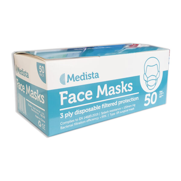Wholesale 3-ply type IIR face mask pack of 50